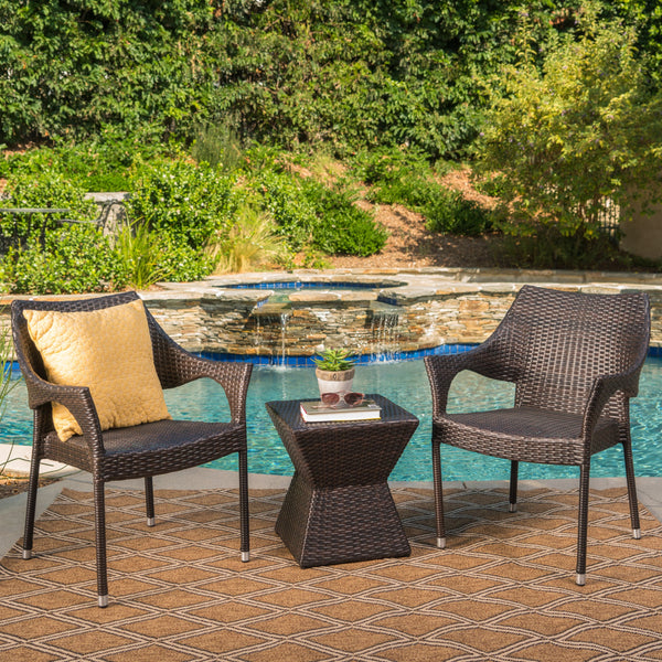 Arlost Outdoor 3 Piece Multi-Brown Wicker Chat Set with Stacking Chairs