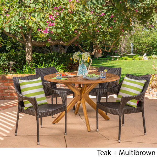 Anthony Outdoor 5 Piece Multibrown Wicker Dining Set with Teak Finish Circular Acacia Wood Dining Table