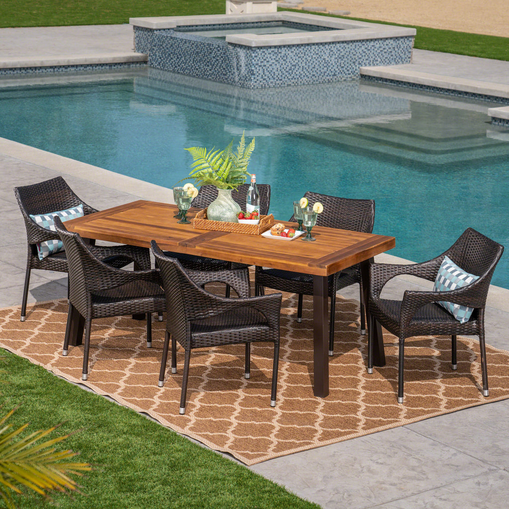 Magnificent Jerome Outdoor 7 Piece Acacia Wood Wicker Dining Set Teak Finish And Multibrown Squirreltailoven Fun Painted Chair Ideas Images Squirreltailovenorg