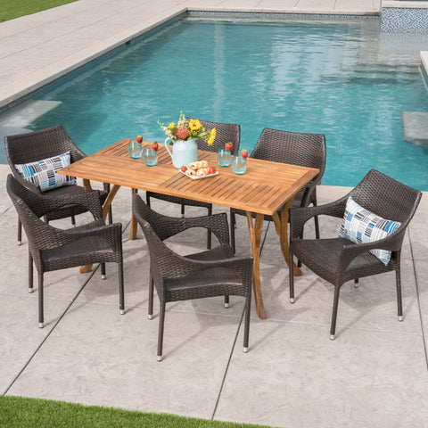 Zoey Outdoor 7 Piece Acacia Wood/ Wicker Dining Set, Teak Finish and Multibrown
