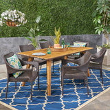 Doreen Outdoor 7 Piece Acacia Wood Dining Set with Stacking Wicker Chairs, Teak and Multi Brown