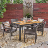 Hermosa Outdoor 6-Seater Rectangular Acacia Wood and Wicker Dining Set, Teak with Black and Multi Brown