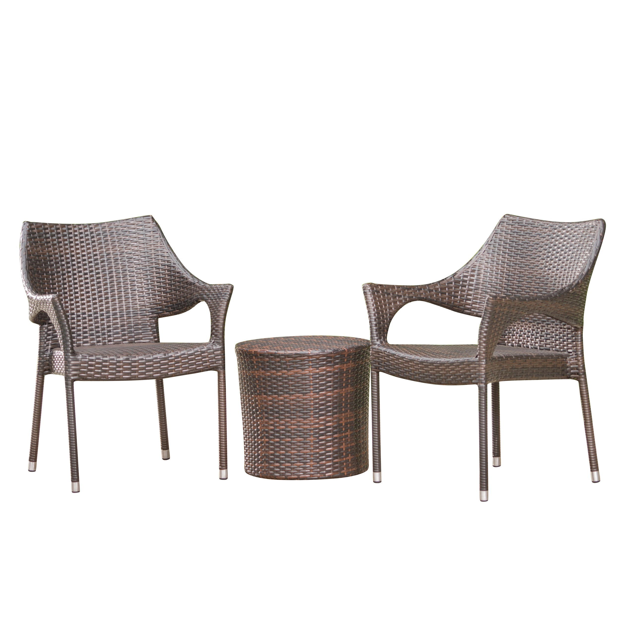 Alfheimr Outdoor 3 Piece Multi brown Wicker Stacking Chair Chat Set Framed Hour Glass Table
