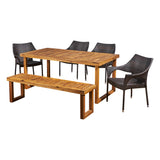 Cason Outdoor 6-Seater Wood and Wicker Chair and Bench Dining Set