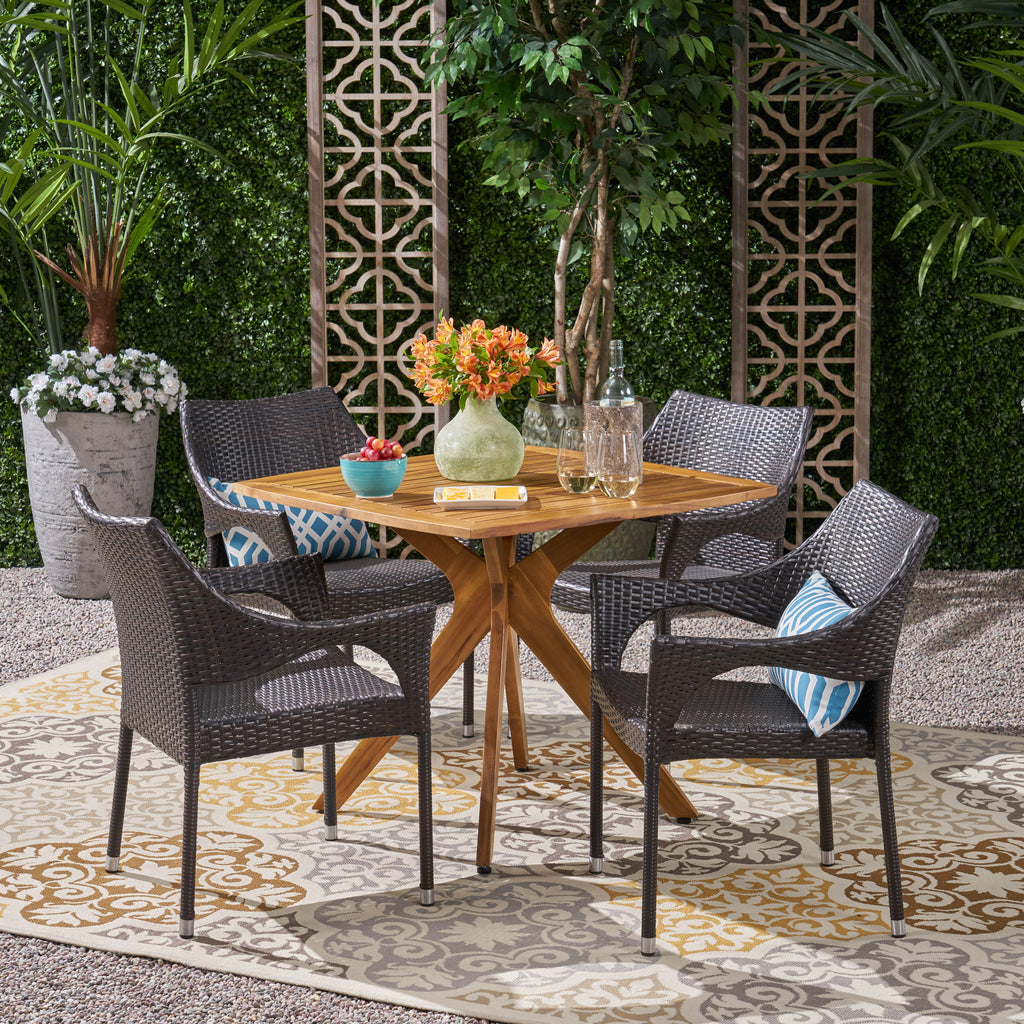 Declan Outdoor 5 Piece Wood and Wicker Dining Set