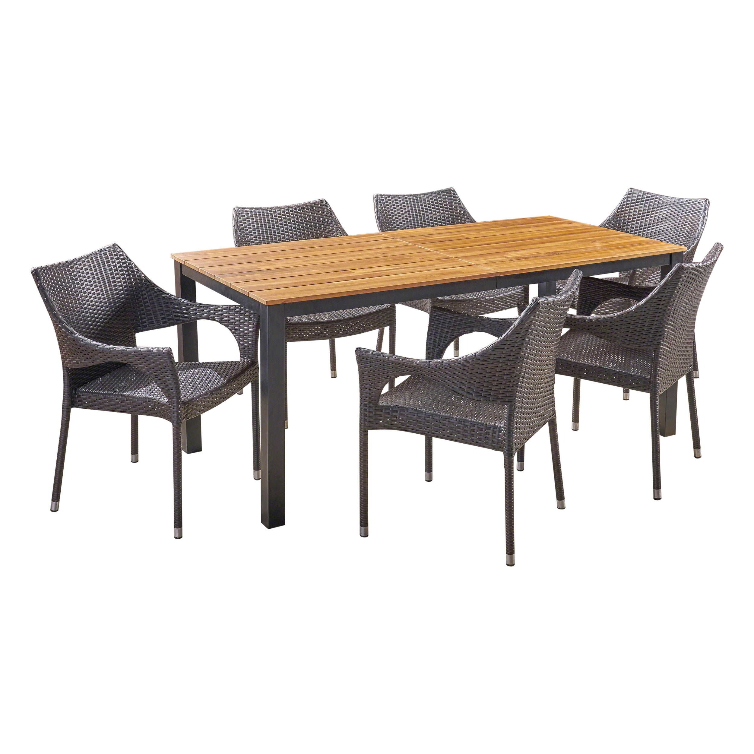 Amberlynn Outdoor 7 Piece Acacia Wood Dining Set with Stacking Wicker Chairs Teak and Multi Brown Default Title