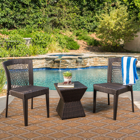 Malsborough Outdoor 3 Piece Multi-Brown Wicker Chat Set with Stacking Chairs