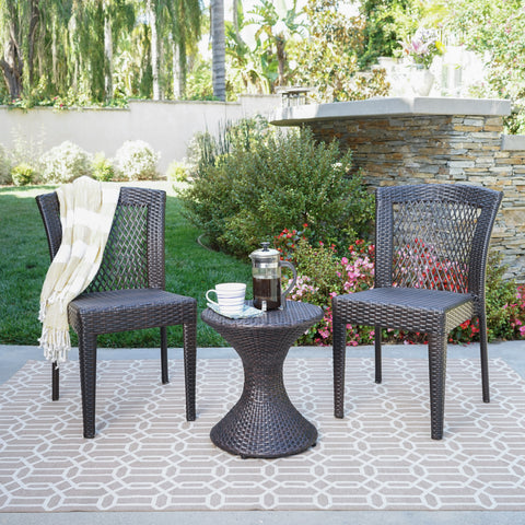 Rigby Outdoor 3 Piece Multi-Brown Wicker Chat Set with Stacking Chairs
