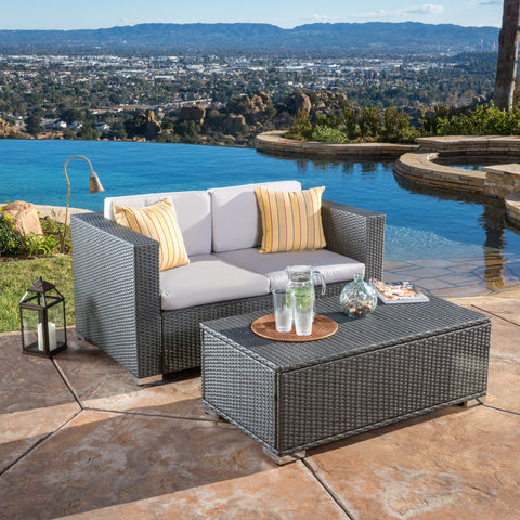 Asgard Multi-Grey PE 2pc Outdoor Sofa and Coffee Table Set