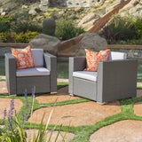 Verin Outdoor Grey Wicker Club Chair with Silver Water Resistant Fabric Cushions (Set of 2)