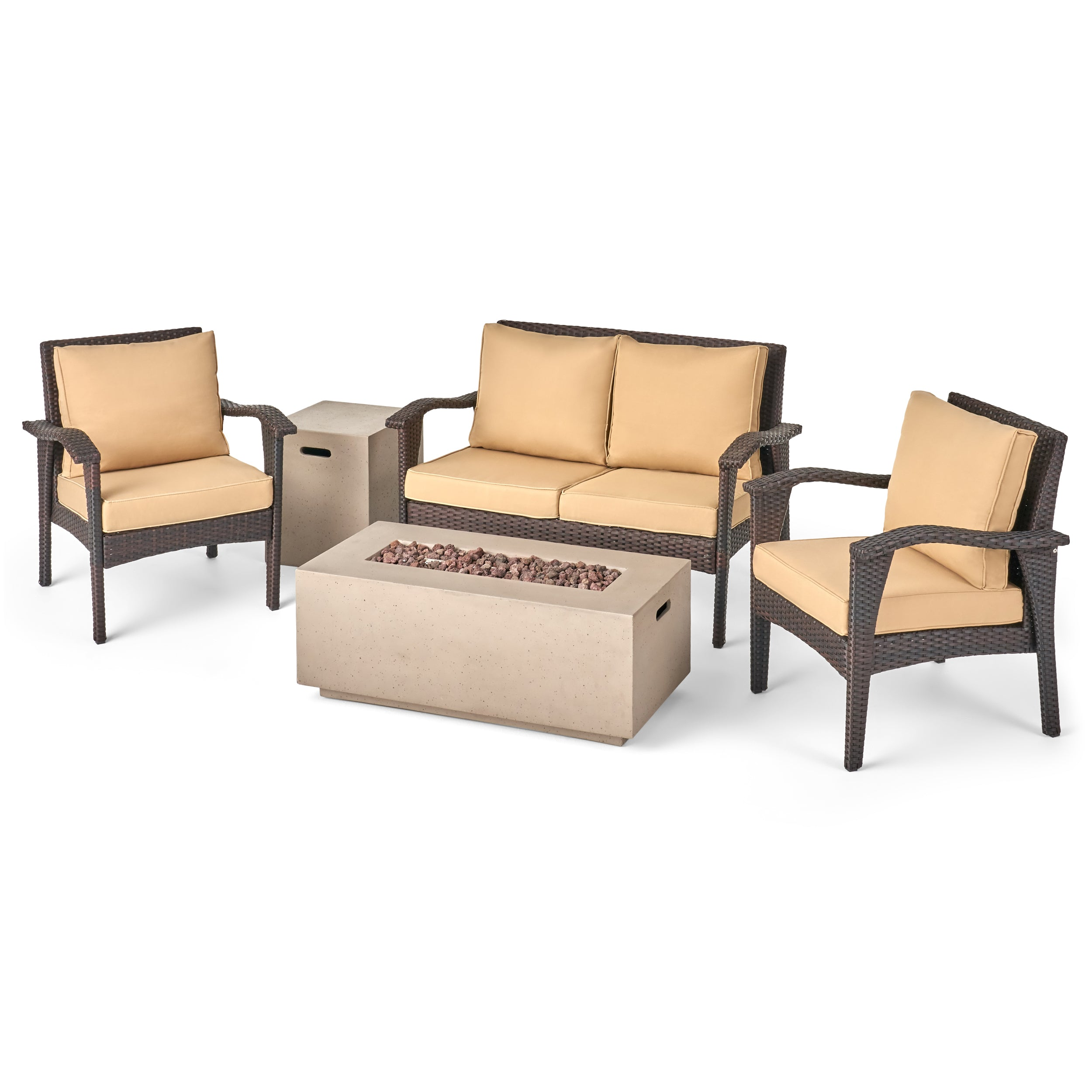 Alanny Outdoor 4 Seater Wicker Chat Set with Fire Pit
