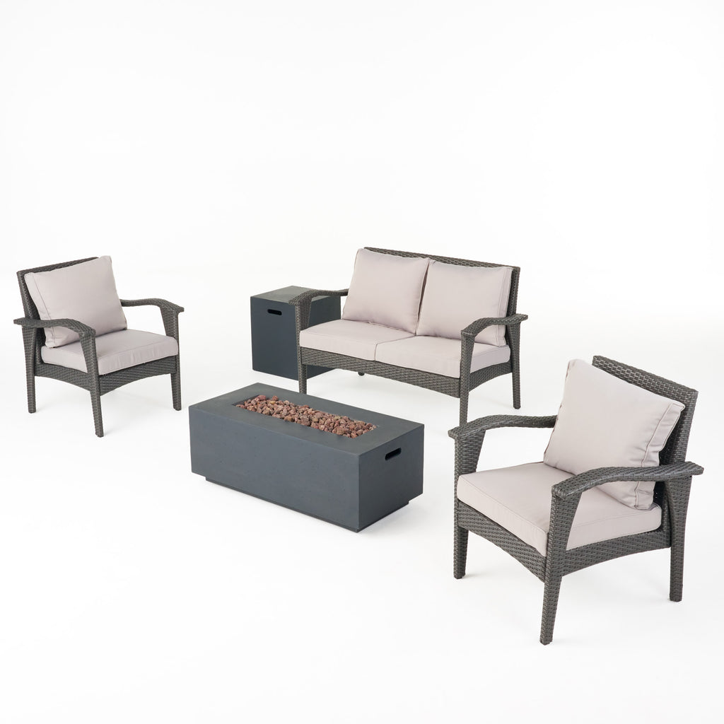 Mckynzie Outdoor 4 Seater Wicker Chat Set with Fire Pit