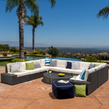 Reddington 12pc Outdoor Wicker Sectional Sofa Set w/ Cushions