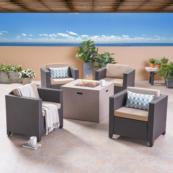 Icey Outdoor 4 Piece Club Chair Set with Square Fire Pit