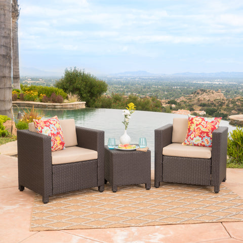 Pueblo Outdoor Wicker Club Chair Set with Matching Side Table