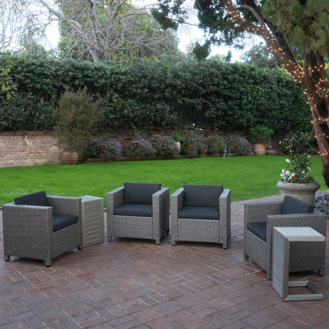 Eden Outdoor 4 Piece Wicker Club Chairs w/ Cushions & Aluminum C-Shaped Tables