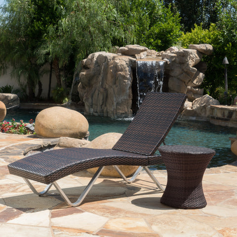 Manuela Outdoor Multi Brown Wicker Chaise Lounge with Table