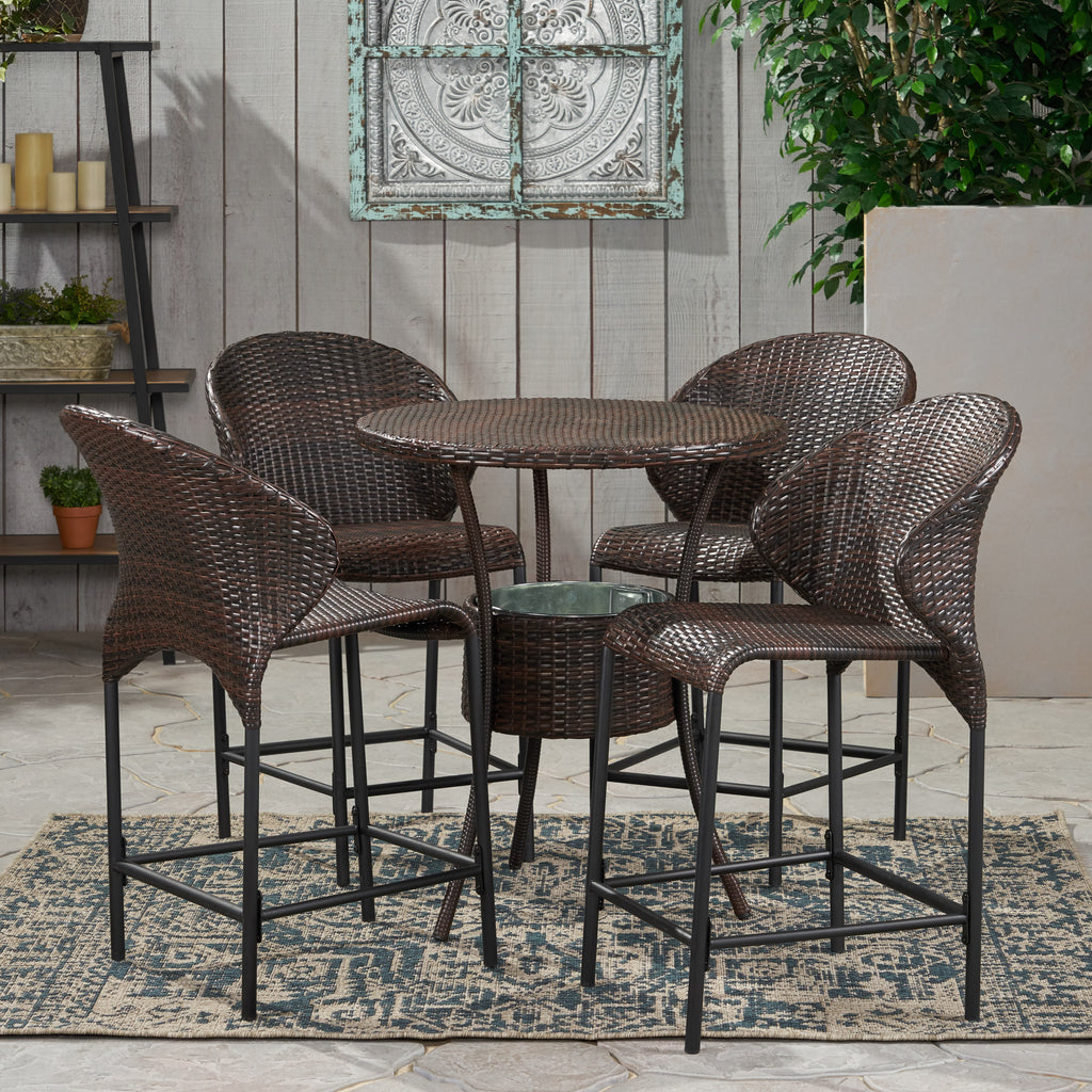 Bennett Outdoor 5-Piece Multi-Brown Wicker Bistro Bar Set with Ice Bucket