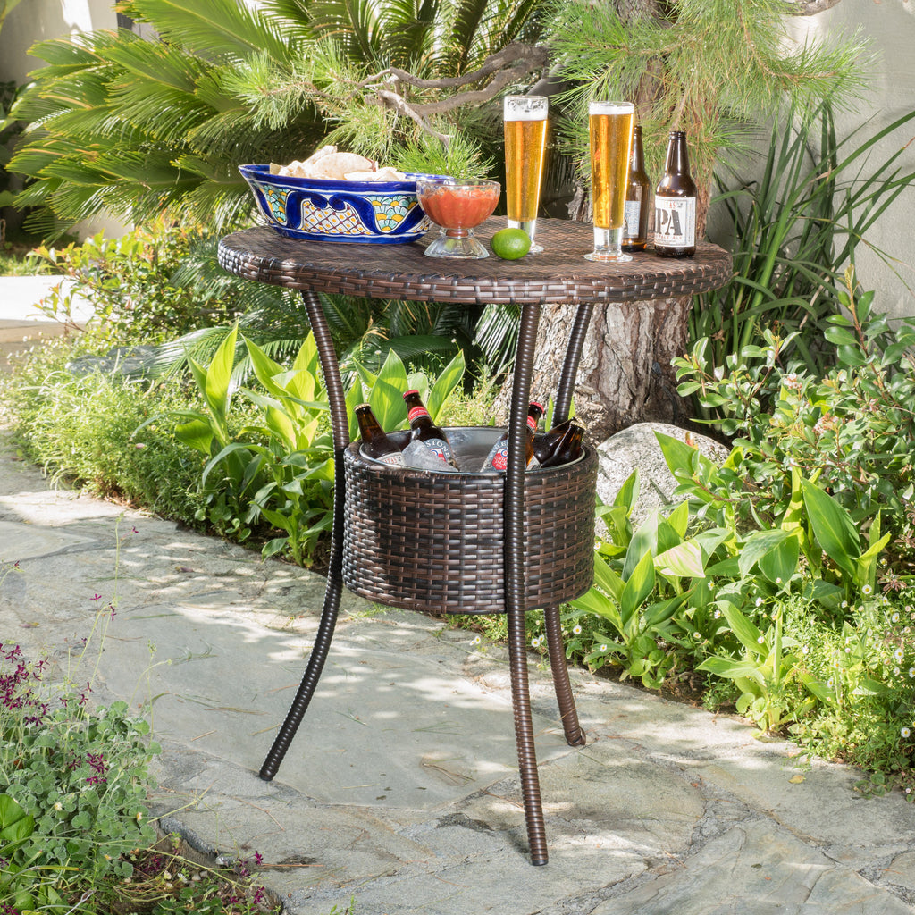 Tampa Bay Outdoor Circular Multi-Brown Wicker Dining Table with Ice Bucket