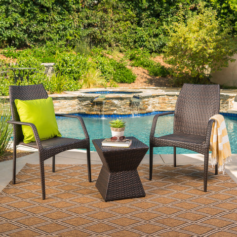 Ralsey Outdoor 3 Piece Multi-Brown Wicker Chat Set with Stacking Chairs