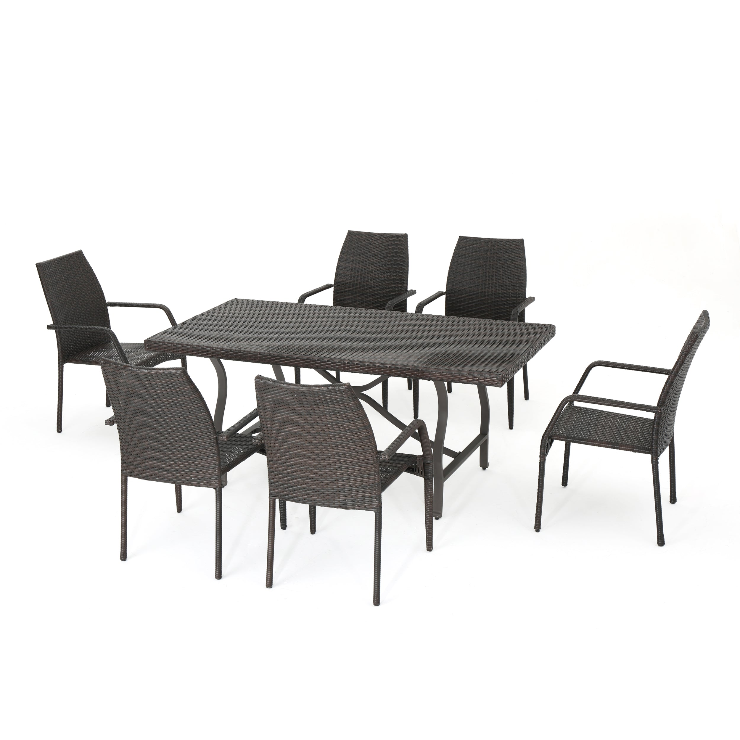 Alexi Outdoor Transitional 7 Piece Multi Brown Wicker Dining Set with Arm Chairs