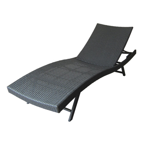 Arthur Outdoor Gray Wicker Chaise Lounge