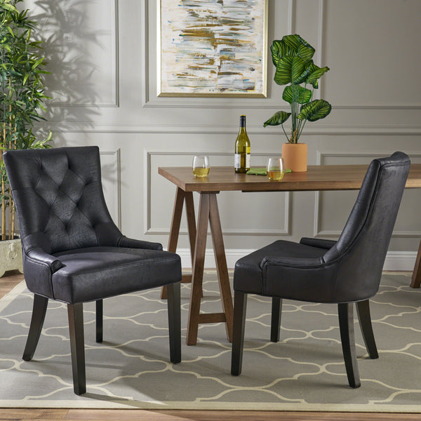 Sarah Traditional Microfiber Dining Chairs Set Of 2