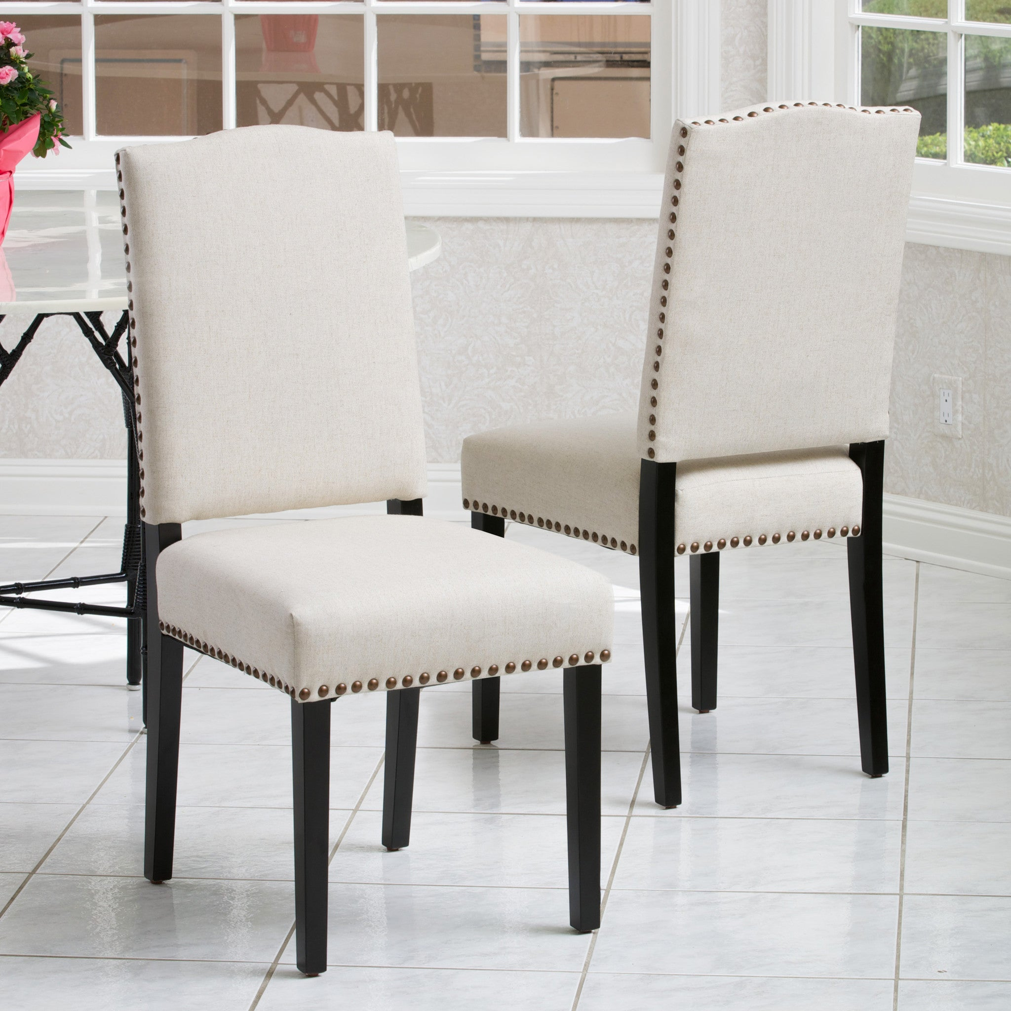 Stuart Beige Fabric Dining Chair Set Of 2 Great Deal