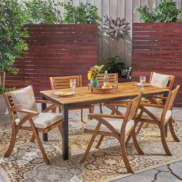 Nora Outdoor 7 Piece Acacia Wood Dining Set, Teak and Cream