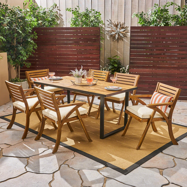 Daisy Outdoor 6-Seater Rectangular Acacia Wood and Iron Dining Set, Teak with Black and Cream