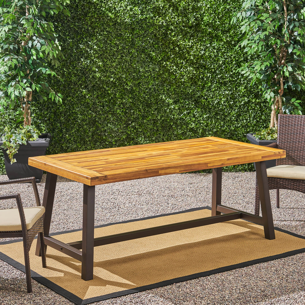 Carlie Outdoor Sandblast Finished Dining Table with Iron Legs
