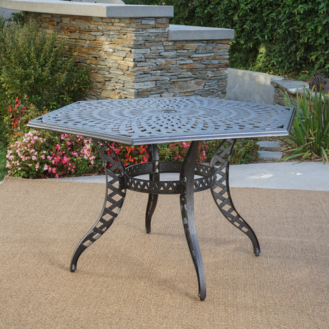Hammond Outdoor Black Sand Cast Aluminum Hexagon Table