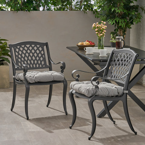 Allee Outdoor Dining Chair with Cushion (Set of 2)