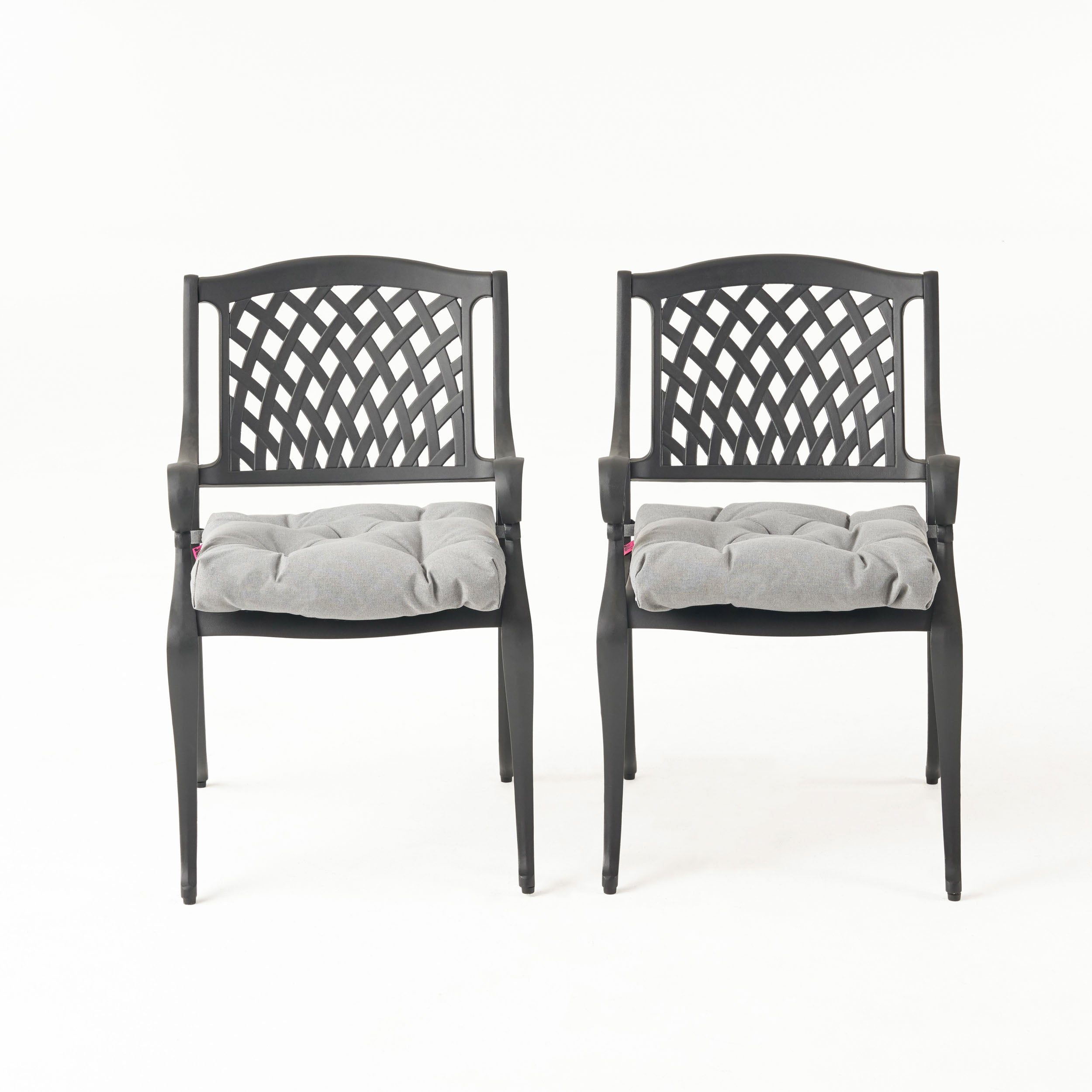 Allee Outdoor Dining Chair with Cushion Set of 2 Navy
