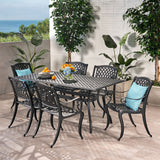 Marietta Outdoor 7-piece Cast Aluminum Black Sand Dining Set