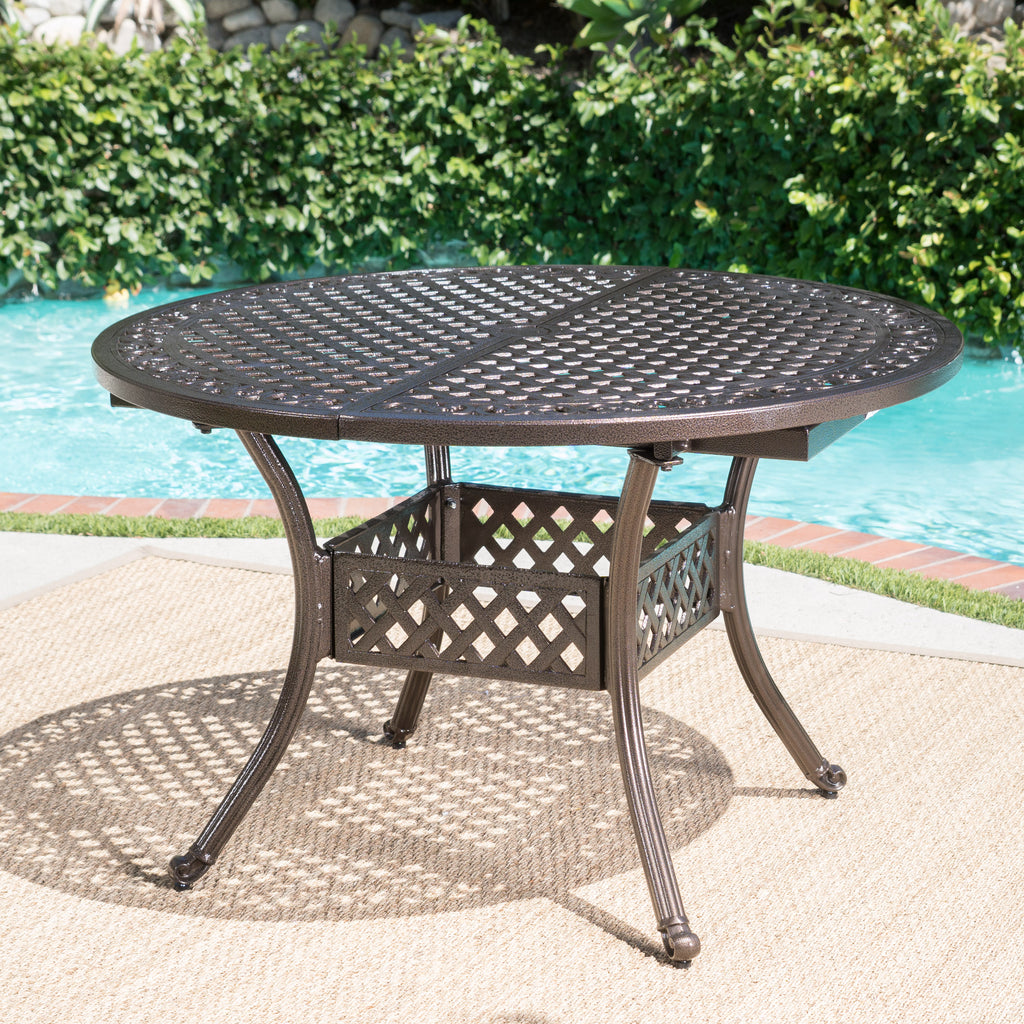 Clarisse Outdoor 5 Piece Hammered Bronze Finished Aluminum Dining Set with Expandable Table