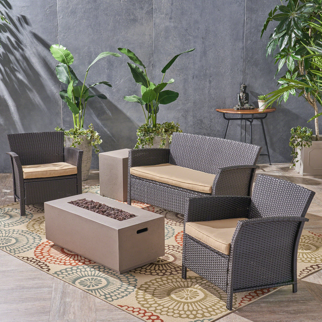 Laiah Outdoor 4 Seater Wicker Chat Set with Fire Pit