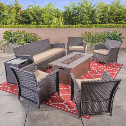 Mason Outdoor 4-Seater Wicker Chat Set with Fire Pit