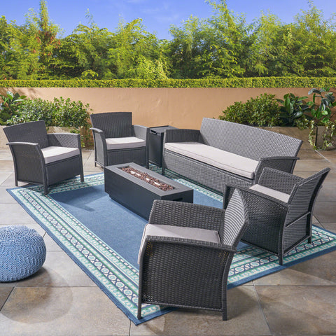Mason Outdoor 7 Seater Wicker Chat Set with Fire Pit, Gray and Silver and Dark Gray