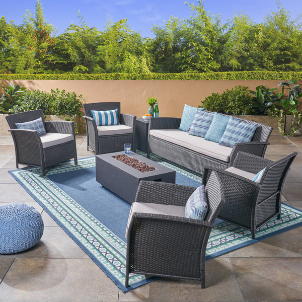 Mason Outdoor 7 Seater Wicker Chat Set with Fire Pit, Gray and Dark Gray