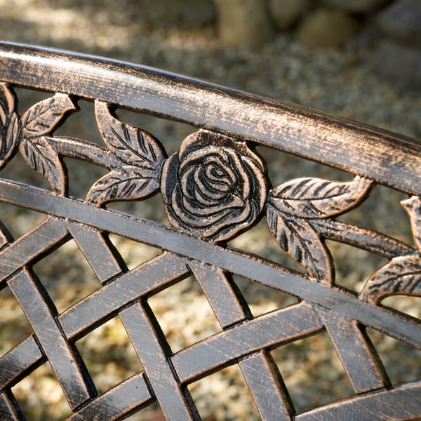 Casablanca Outdoor Copper Cast Aluminum Bench Gdf Studio