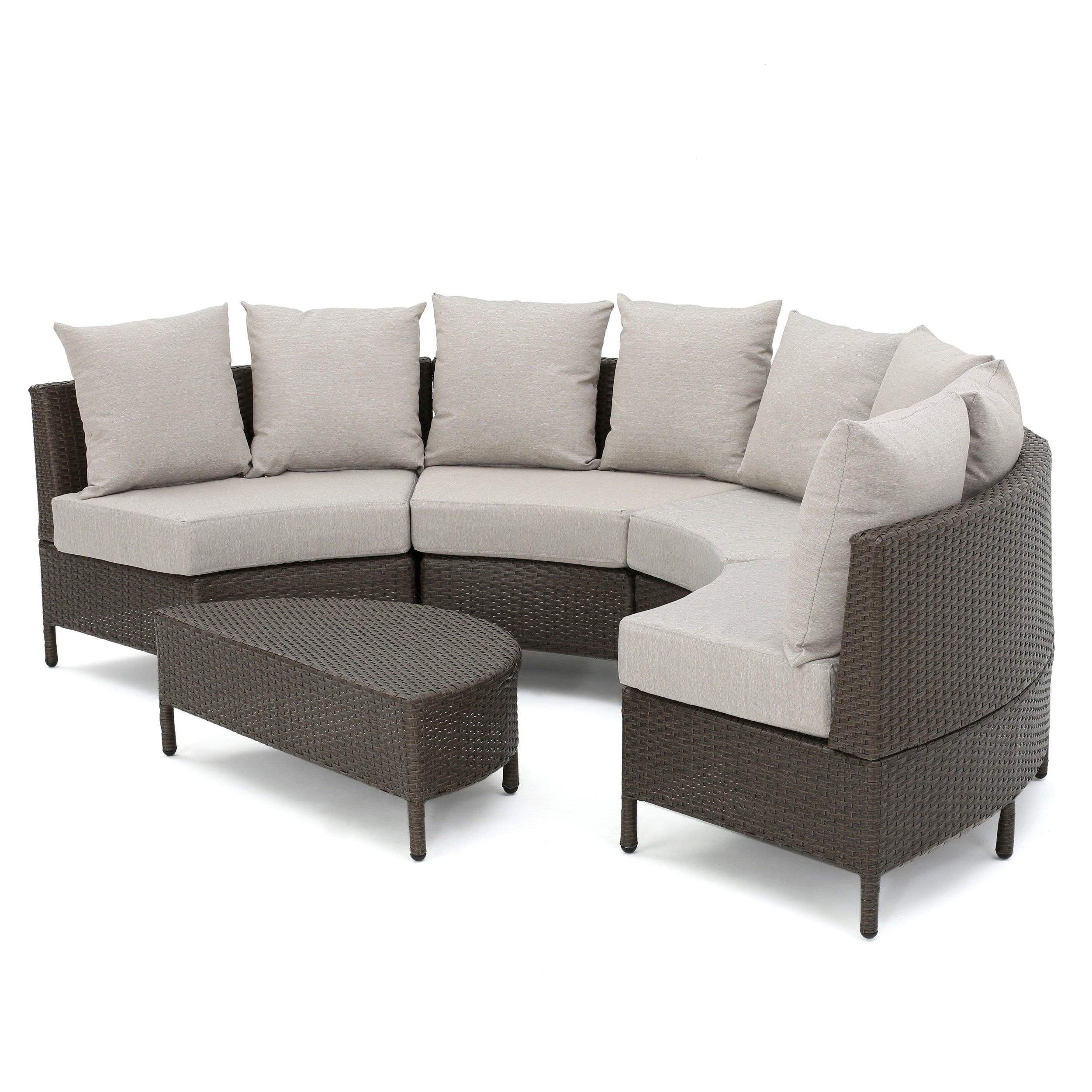 Alacati Outdoor 5 Piece Wicker Sofa Set with Water Resistant Cushions