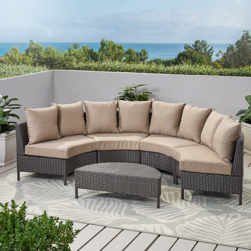 Falkland Outdoor 4 Seater Curved Wicker Sectional Sofa Set with Coffee Table