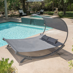 Merianna Gray Wood Sunbed with Gray Outdoor Mesh Canopy