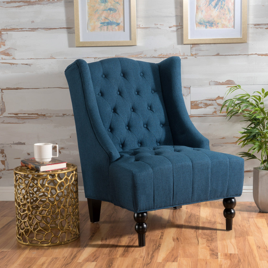 Clarice Wingback Tufted Fabric Accent Chair Gdf Studio