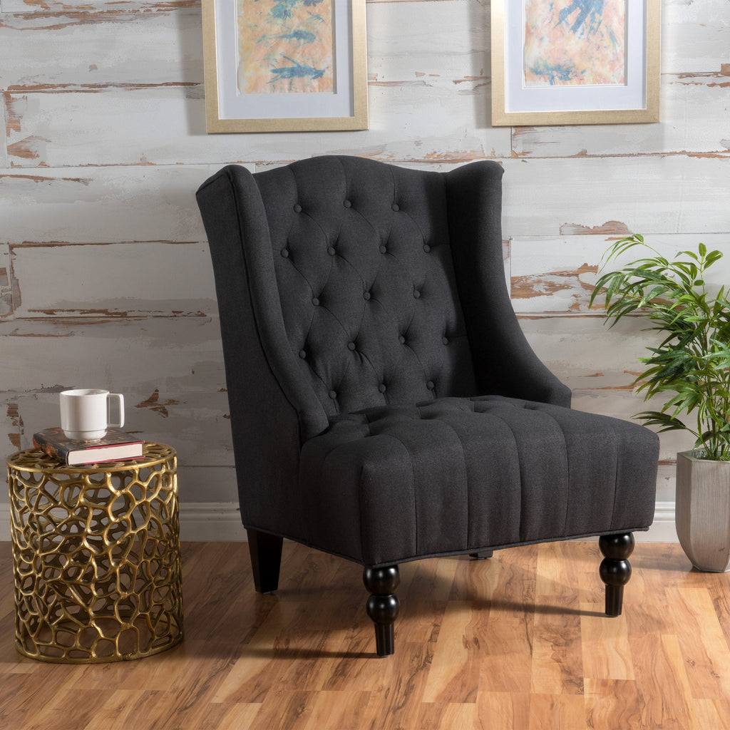 Accent Chairs Wingback.Clarice Wingback Tufted Fabric Accent Chair