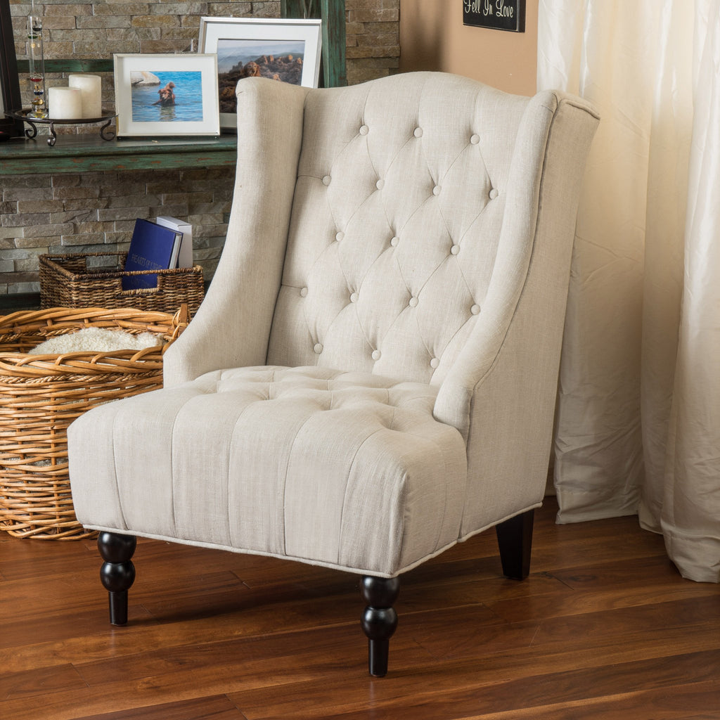 Prime Clarice Wingback Tufted Fabric Accent Chair Ocoug Best Dining Table And Chair Ideas Images Ocougorg