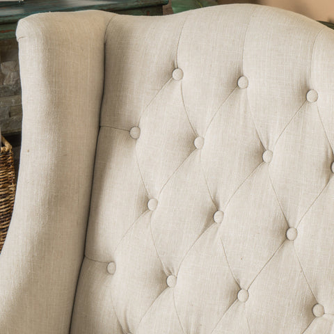 Clarice Wingback Tufted Fabric Accent Chair