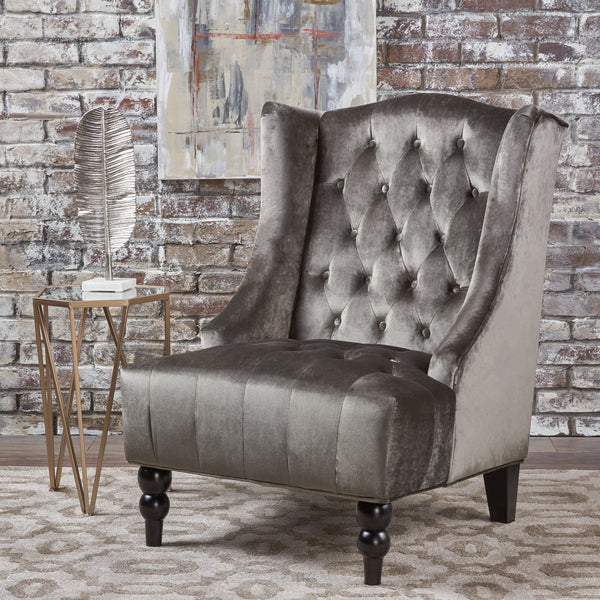 Talisa Winged High Back Tufted New Velvet Club Chair Gdf