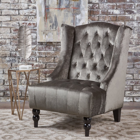 Talisa Winged High-Back Tufted New Velvet Club Chair